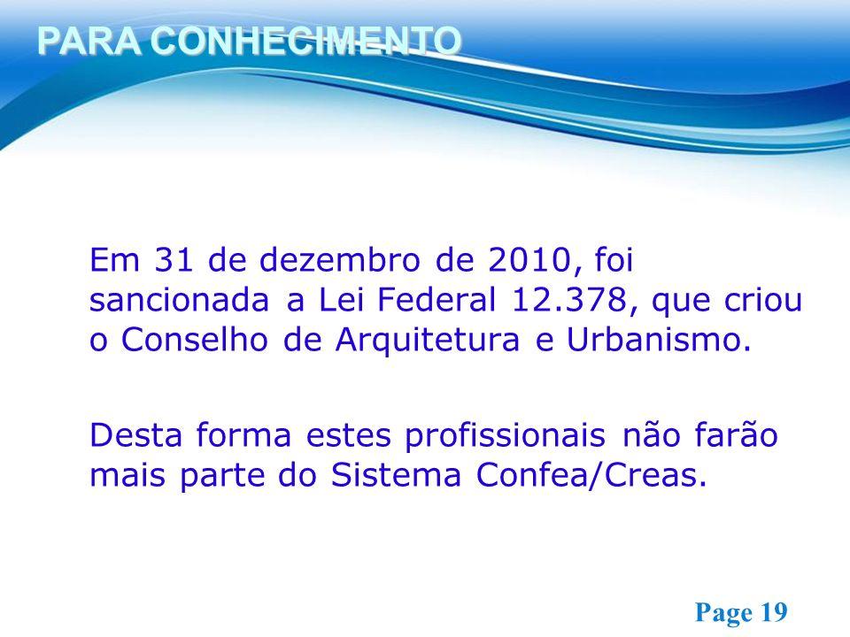 Free Powerpoint Templates Page 19 Em 31 de dezembro de 2010, foi sancionada a Lei Federal 12.378, que criou o Conselho de Arquitetura e Urbanismo. Des