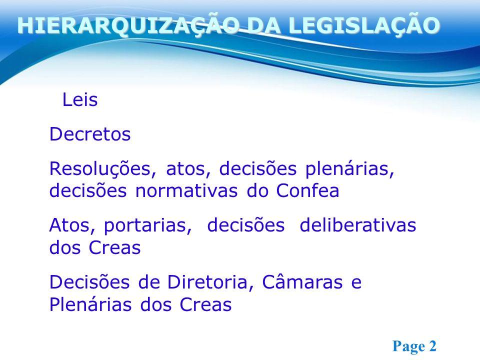 Free Powerpoint Templates Page 2 Leis Decretos Resoluções, atos, decisões plenárias, decisões normativas do Confea Atos, portarias, decisões deliberativas dos Creas Decisões de Diretoria, Câmaras e Plenárias dos Creas HIERARQUIZAÇÃO DA LEGISLAÇÃO