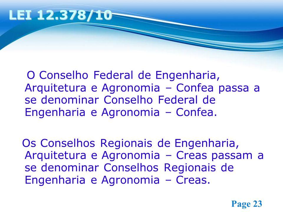 Free Powerpoint Templates Page 23 O Conselho Federal de Engenharia, Arquitetura e Agronomia – Confea passa a se denominar Conselho Federal de Engenharia e Agronomia – Confea.