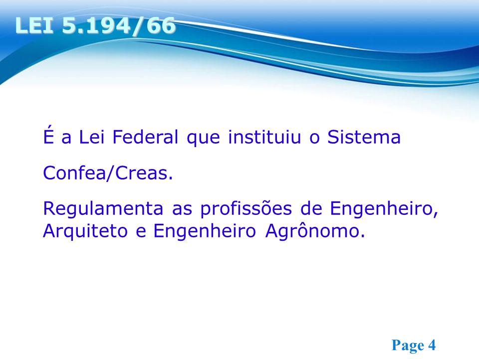 Free Powerpoint Templates Page 4 É a Lei Federal que instituiu o Sistema Confea/Creas.
