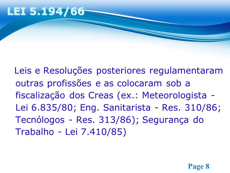 Free Powerpoint Templates Page 8 Leis e Resoluções posteriores regulamentaram outras profissões e as colocaram sob a fiscalização dos Creas (ex.: Meteorologista - Lei 6.835/80; Eng.
