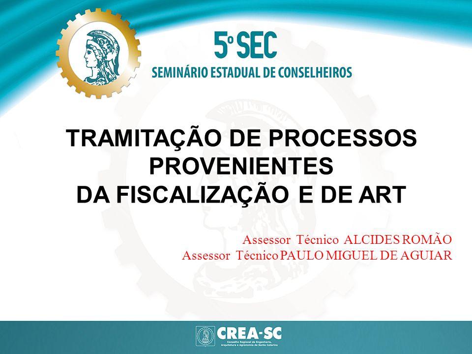 TRAMITAÇÃO DE PROCESSOS PROVENIENTES DA FISCALIZAÇÃO E DE ART Assessor Técnico ALCIDES ROMÃO Assessor Técnico PAULO MIGUEL DE AGUIAR