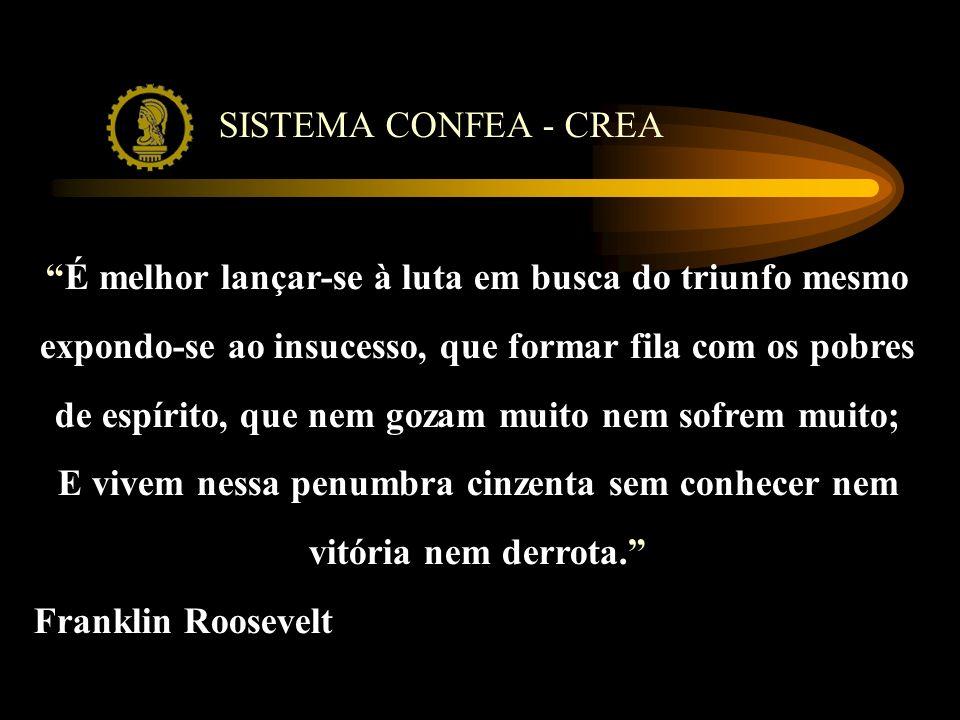 SISTEMA CONFEA - CREA É melhor lançar-se à luta em busca do triunfo mesmo expondo-se ao insucesso, que formar fila com os pobres de espírito, que nem