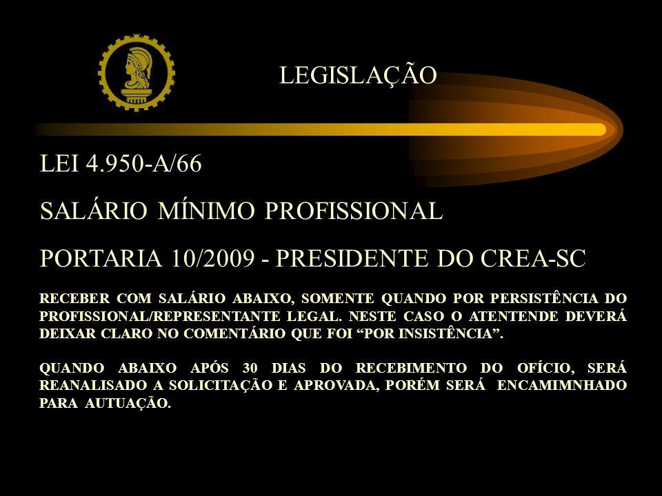 LEI 4.950-A/66 SALÁRIO MÍNIMO PROFISSIONAL PORTARIA 10/2009 - PRESIDENTE DO CREA-SC RECEBER COM SALÁRIO ABAIXO, SOMENTE QUANDO POR PERSISTÊNCIA DO PROFISSIONAL/REPRESENTANTE LEGAL.