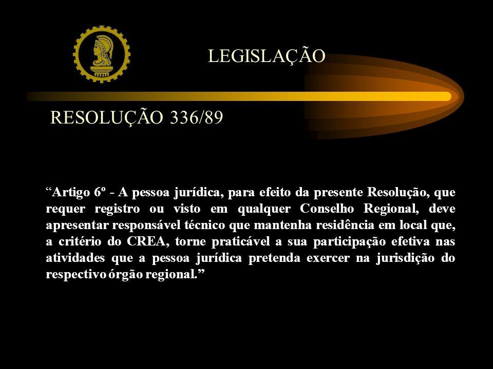 RESOLUÇÃO 336/89 Artigo 6º - A pessoa jurídica, para efeito da presente Resolução, que requer registro ou visto em qualquer Conselho Regional, deve ap