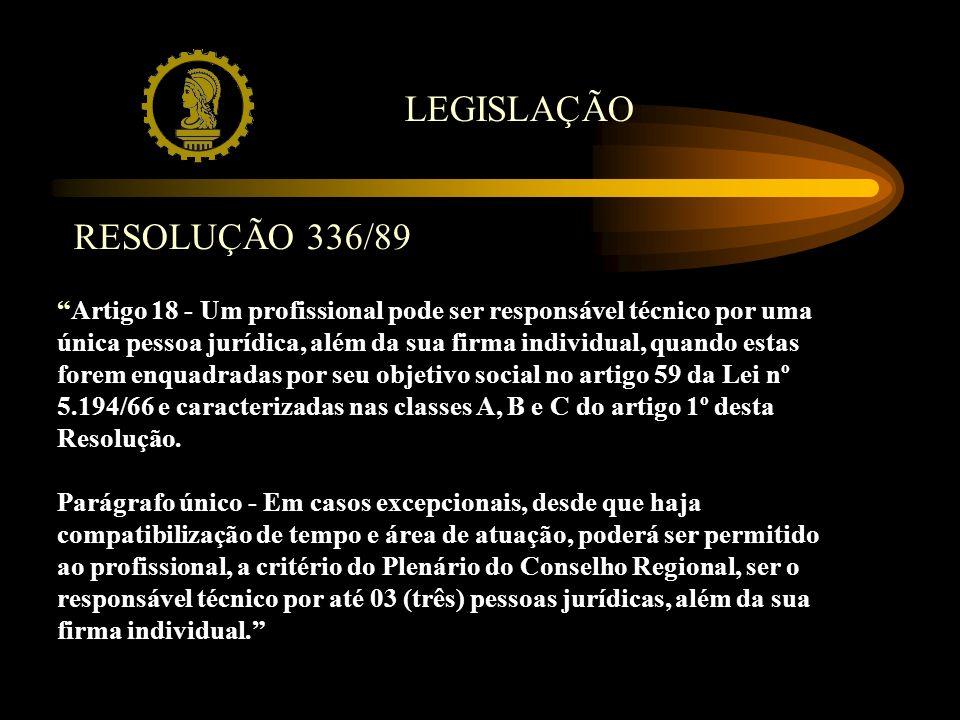 LEGISLAÇÃO Artigo 18 - Um profissional pode ser responsável técnico por uma única pessoa jurídica, além da sua firma individual, quando estas forem en