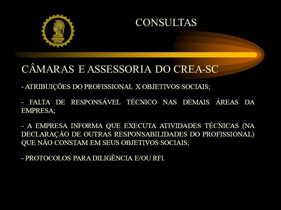 CONSULTAS CÂMARAS E ASSESSORIA DO CREA-SC - ATRIBUIÇÕES DO PROFISSIONAL X OBJETIVOS SOCIAIS; - FALTA DE RESPONSÁVEL TÉCNICO NAS DEMAIS ÁREAS DA EMPRESA; - A EMPRESA INFORMA QUE EXECUTA ATIVIDADES TÉCNICAS (NA DECLARAÇÃO DE OUTRAS RESPONSABILIDADES DO PROFISSIONAL) QUE NÃO CONSTAM EM SEUS OBJETIVOS SOCIAIS; - PROTOCOLOS PARA DILIGÊNCIA E/OU RFI.