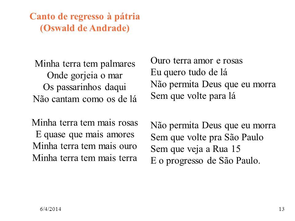 6/4/201413 Canto de regresso à pátria (Oswald de Andrade) Minha terra tem palmares Onde gorjeia o mar Os passarinhos daqui Não cantam como os de lá Mi