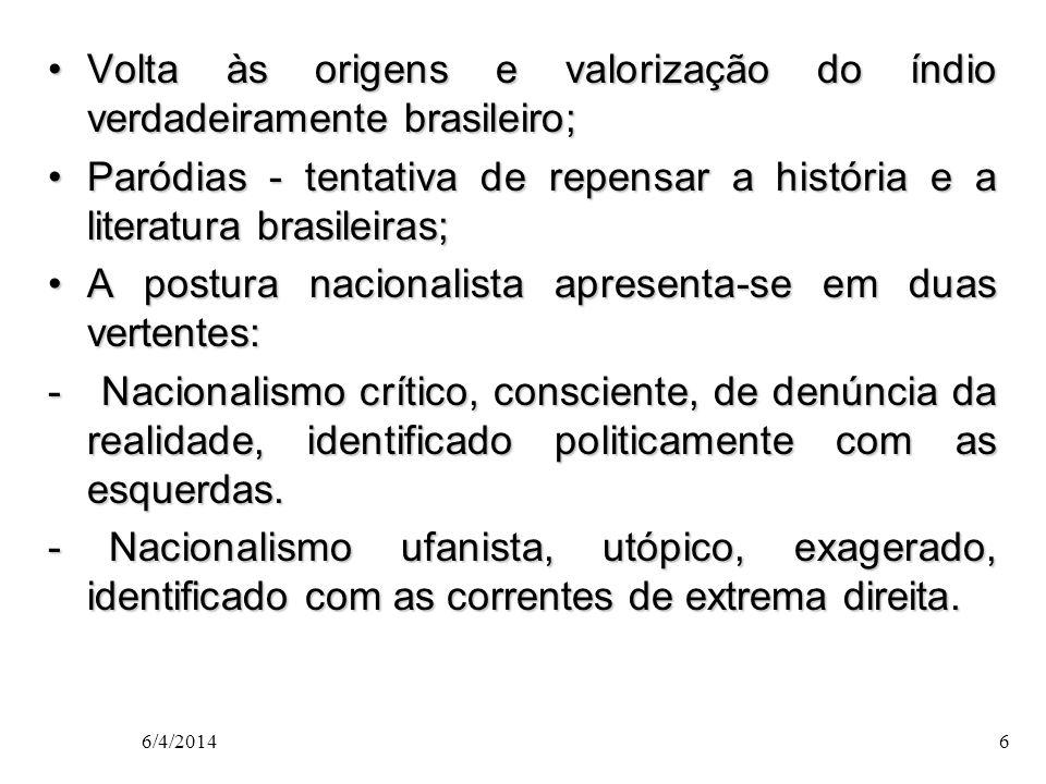 Movimentos modernistas MOVIMENTO PAU BRASIL(1924-30) - Valorização da cultura nacional; - Valorização da cultura nacional; - Poesia primitivista crítica do passado histórico; - Poesia primitivista crítica do passado histórico; - Aceitação dos contrastes brasileiros como formadores de nossa cultura.
