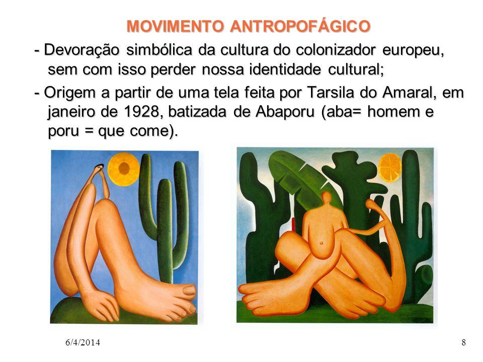 MOVIMENTO ANTROPOFÁGICO - Devoração simbólica da cultura do colonizador europeu, sem com isso perder nossa identidade cultural; - Devoração simbólica