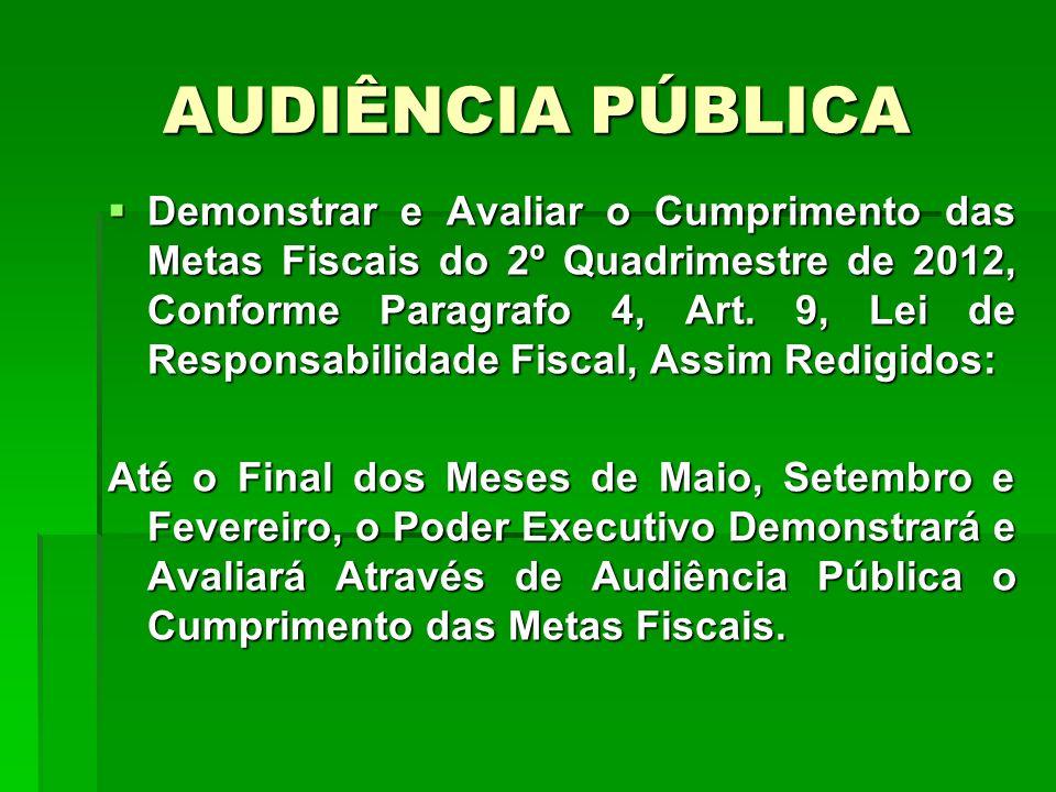 AUDIÊNCIA PÚBLICA Demonstrar e Avaliar o Cumprimento das Metas Fiscais do 2º Quadrimestre de 2012, Conforme Paragrafo 4, Art. 9, Lei de Responsabilida