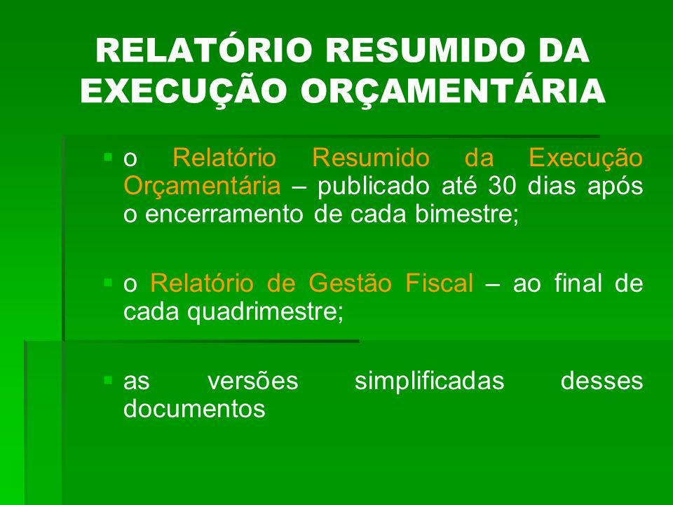 RELATÓRIO RESUMIDO DA EXECUÇÃO ORÇAMENTÁRIA Deve ser publicado até 30 dias após o encerramento de cada bimestre e composto de : Balanço Orçamentário; Demonstrativos da execução das receitas e despesas; Despesas por função e subfunção