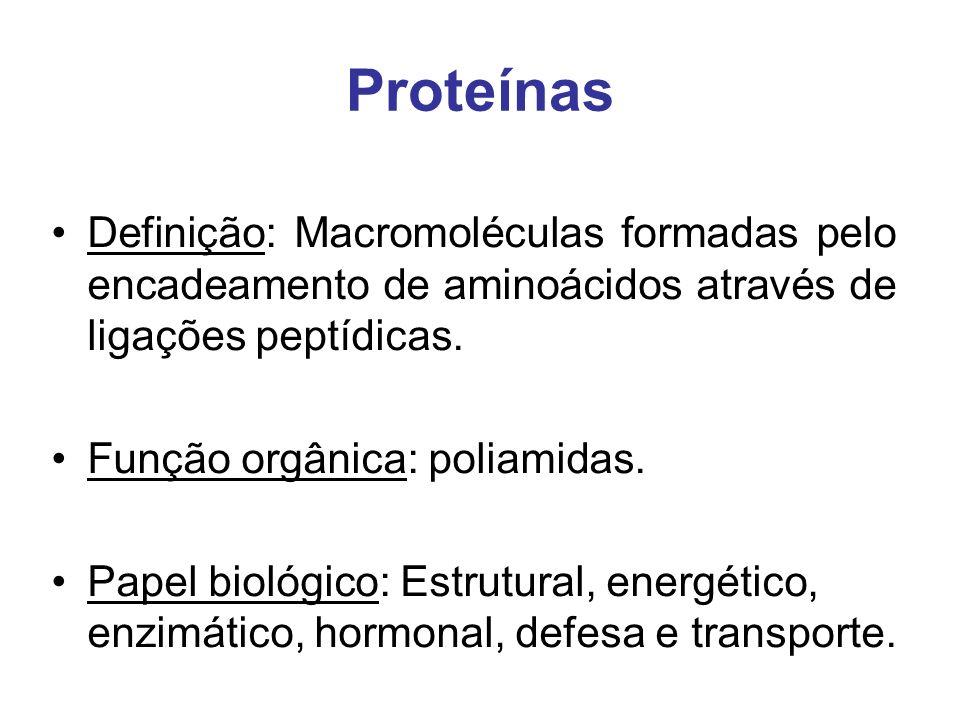 Proteínas Definição: Macromoléculas formadas pelo encadeamento de aminoácidos através de ligações peptídicas. Função orgânica: poliamidas. Papel bioló