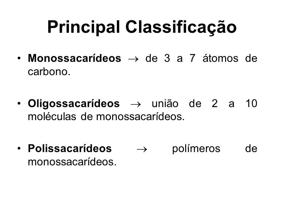 Principal Classificação Monossacarídeos de 3 a 7 átomos de carbono. Oligossacarídeos união de 2 a 10 moléculas de monossacarídeos. Polissacarídeos pol