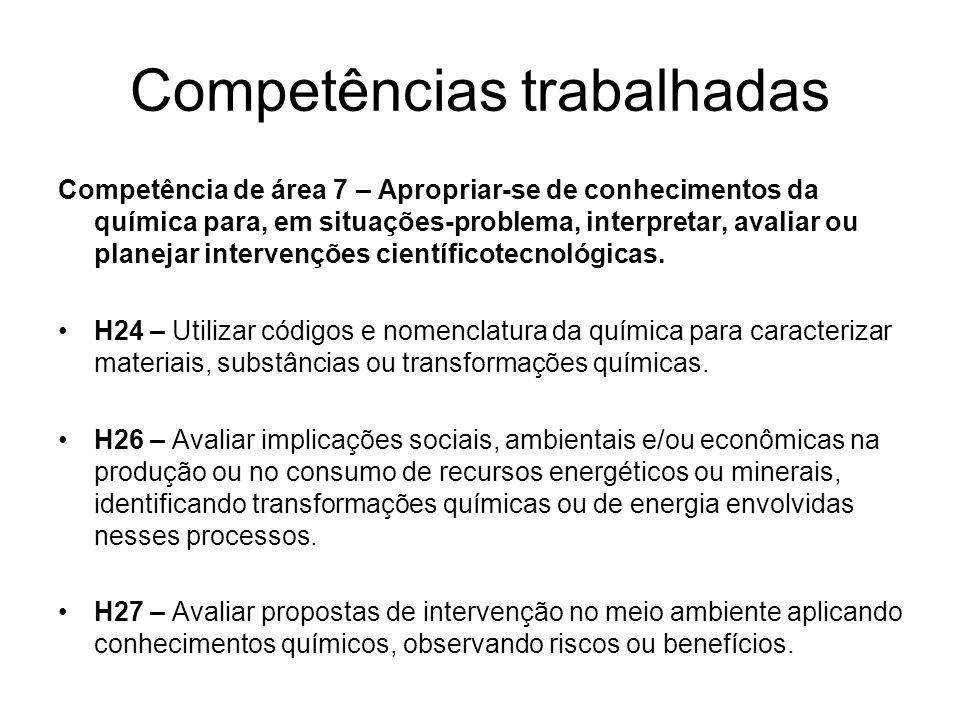 Competências trabalhadas Competência de área 7 – Apropriar-se de conhecimentos da química para, em situações-problema, interpretar, avaliar ou planeja