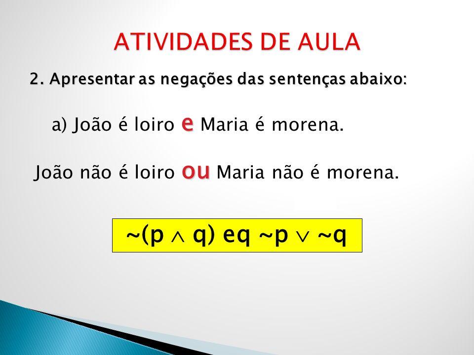 2. Apresentar as negações das sentenças abaixo: e a) João é loiro e Maria é morena. ou João não é loiro ou Maria não é morena. ~(p q) eq ~p ~q