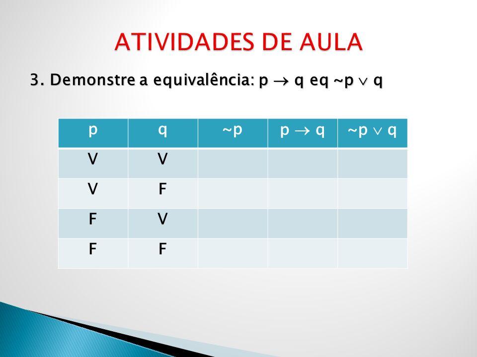3. Demonstre a equivalência: p q eq ~p q pq~pp q~p q VV VF FV FF