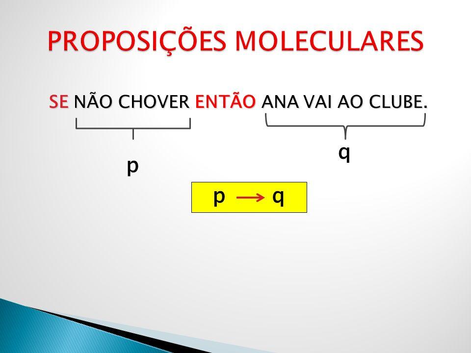 SE NÃO CHOVER ENTÃO ANA VAI AO CLUBE. p q p q