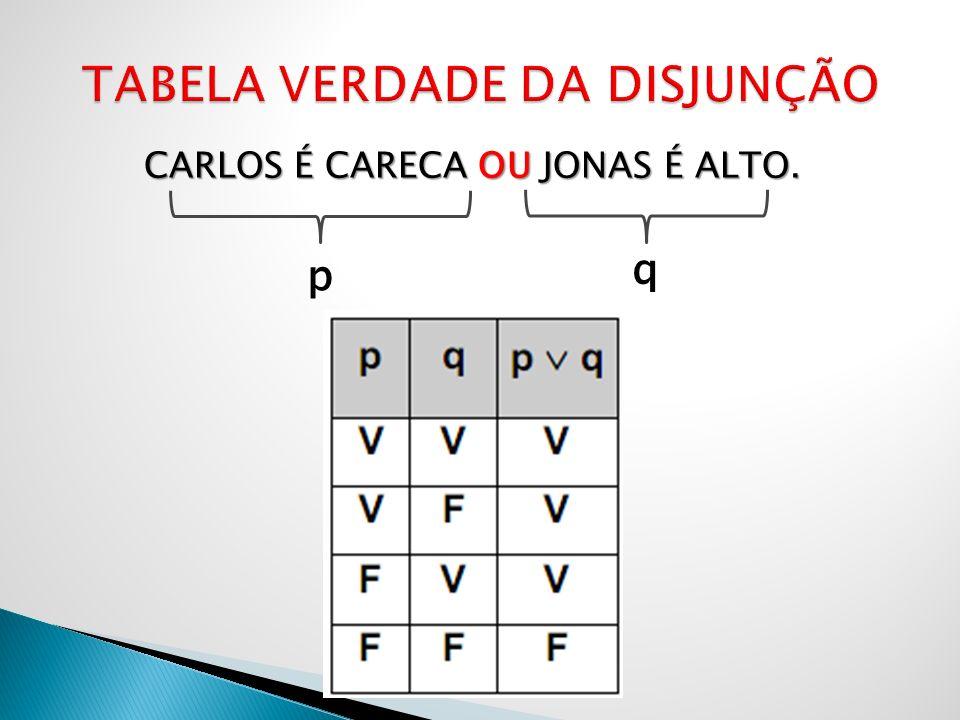 CARLOS É CARECA OU JONAS É ALTO. p q