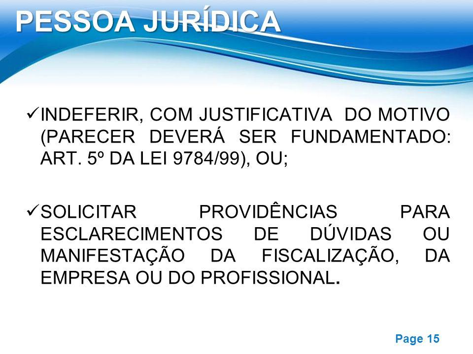 Free Powerpoint Templates Page 15 INDEFERIR, COM JUSTIFICATIVA DO MOTIVO (PARECER DEVERÁ SER FUNDAMENTADO: ART. 5º DA LEI 9784/99), OU; SOLICITAR PROV