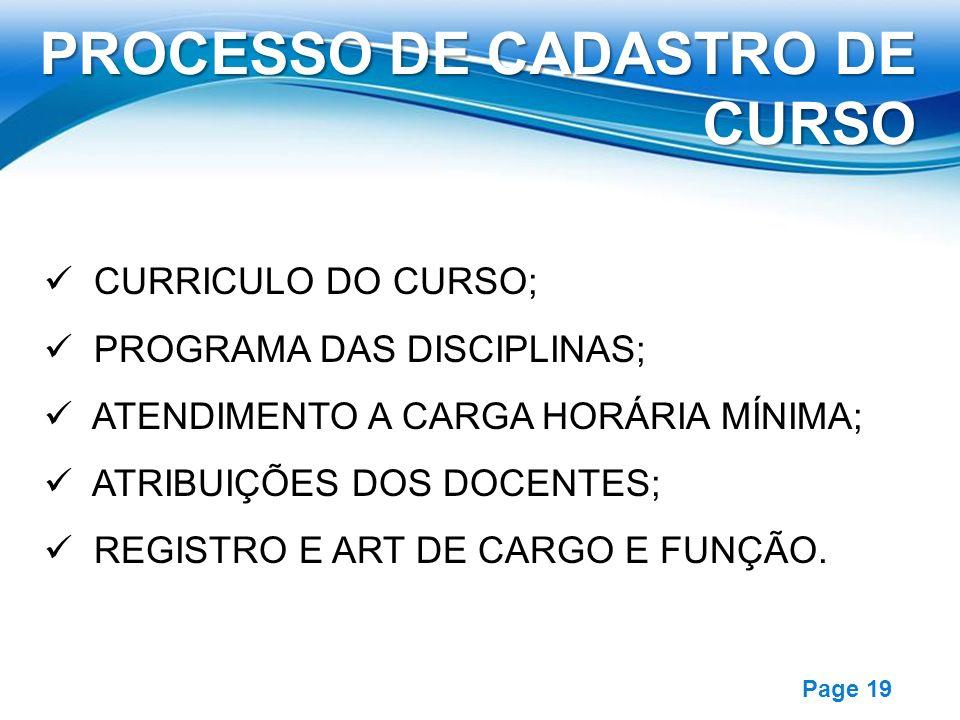 Free Powerpoint Templates Page 19 CURRICULO DO CURSO; PROGRAMA DAS DISCIPLINAS; ATENDIMENTO A CARGA HORÁRIA MÍNIMA; ATRIBUIÇÕES DOS DOCENTES; REGISTRO