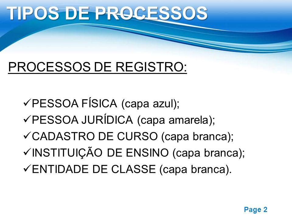 Free Powerpoint Templates Page 2 TIPOS DE PROCESSOS PROCESSOS DE REGISTRO: PESSOA FÍSICA (capa azul); PESSOA JURÍDICA (capa amarela); CADASTRO DE CURS