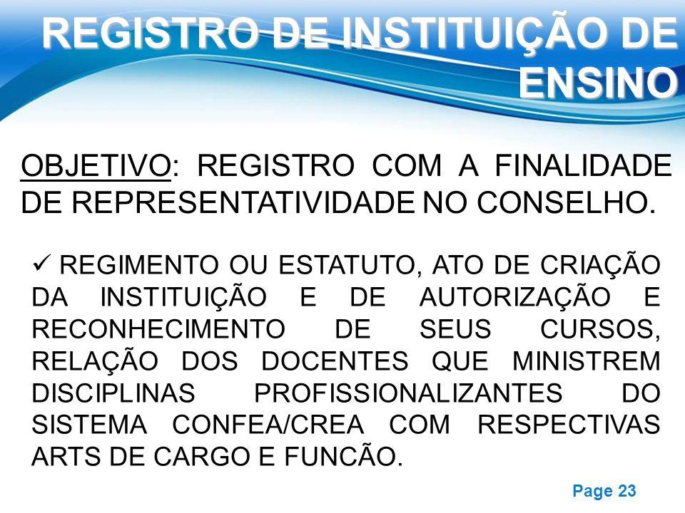 Free Powerpoint Templates Page 23 REGISTRO DE INSTITUIÇÃO DE ENSINO OBJETIVO: REGISTRO COM A FINALIDADE DE REPRESENTATIVIDADE NO CONSELHO. REGIMENTO O