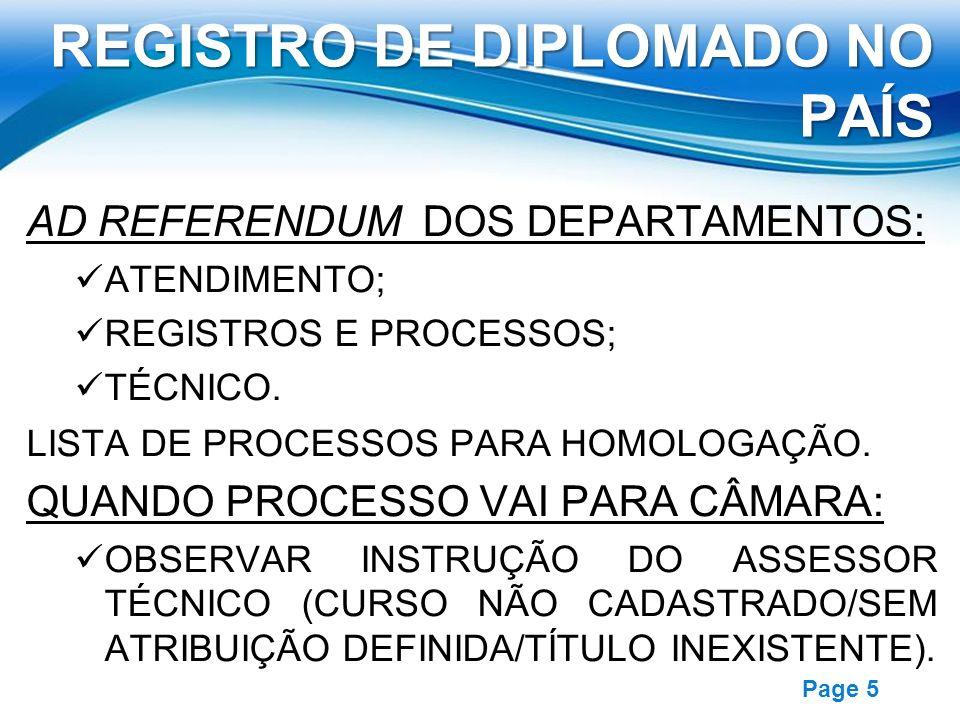 Free Powerpoint Templates Page 5 REGISTRO DE DIPLOMADO NO PAÍS AD REFERENDUM DOS DEPARTAMENTOS: ATENDIMENTO; REGISTROS E PROCESSOS; TÉCNICO. LISTA DE
