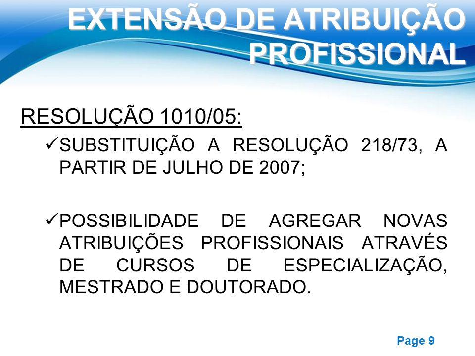 Free Powerpoint Templates Page 9 EXTENSÃO DE ATRIBUIÇÃO PROFISSIONAL RESOLUÇÃO 1010/05: SUBSTITUIÇÃO A RESOLUÇÃO 218/73, A PARTIR DE JULHO DE 2007; PO