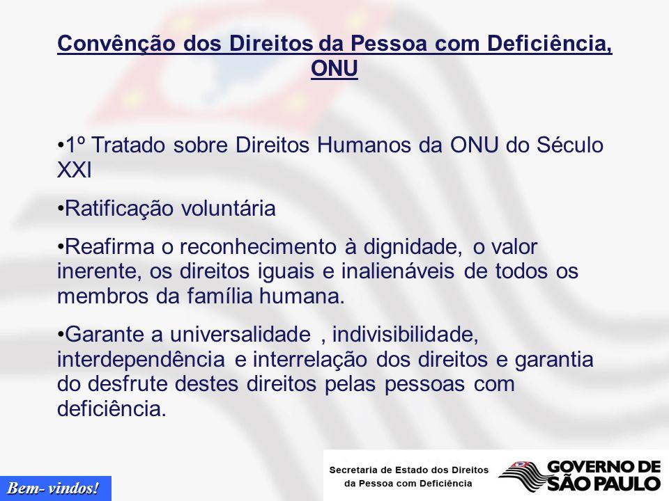 Bem- vindos! Tópicos Convenção dos Direitos da Pessoa com Deficiência, ONU Adesão mundial Estrutura Geral Empregabilidade Evolução da Empregabilidade
