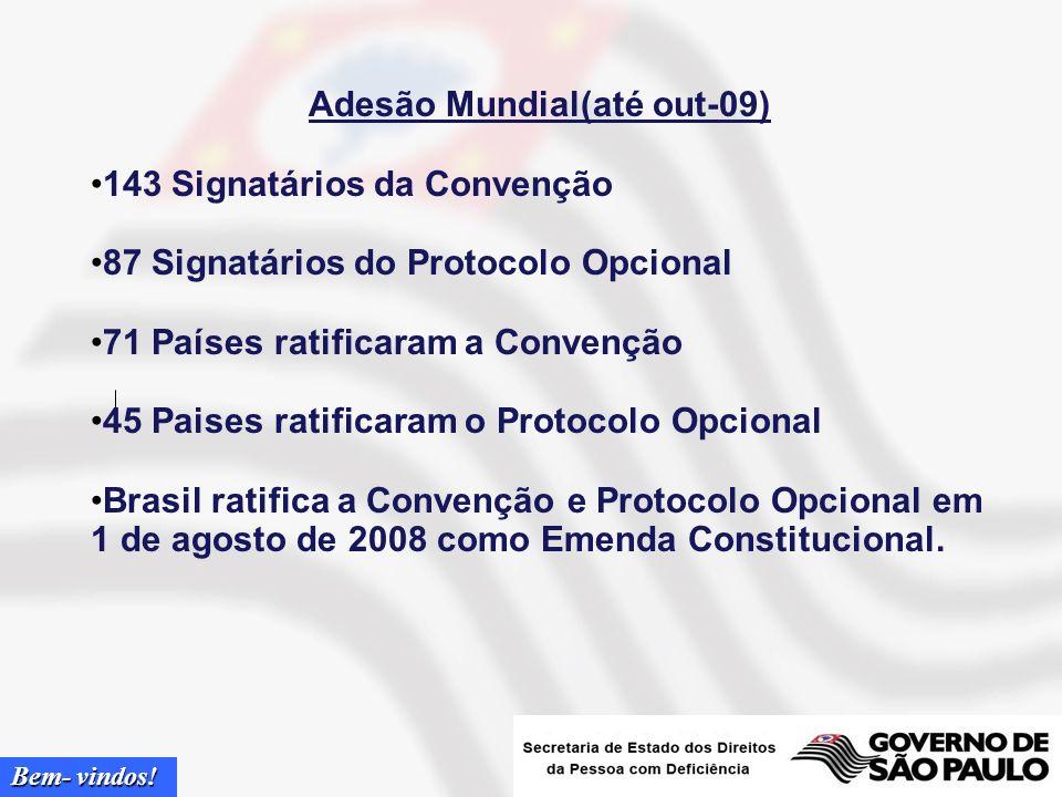 Bem- vindos! Convênção dos Direitos da Pessoa com Deficiência, ONU 1º Tratado sobre Direitos Humanos da ONU do Século XXI Ratificação voluntária Reafi