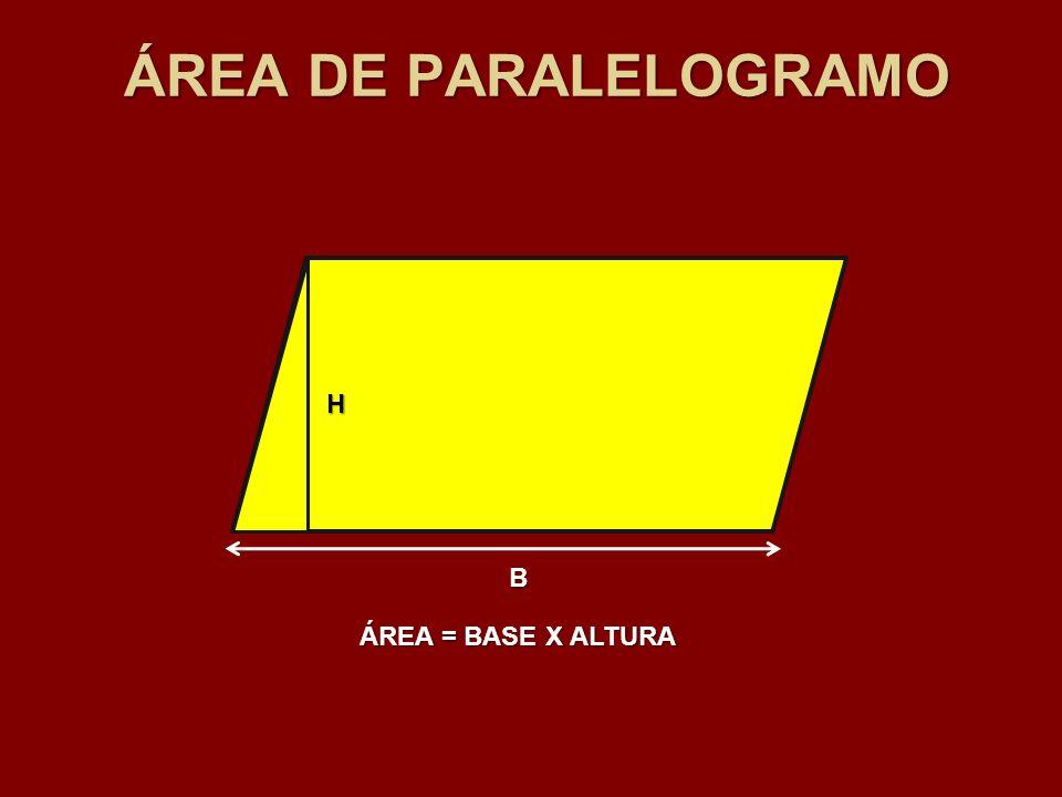 B H ÁREA = BASE X ALTURA ÁREA DE PARALELOGRAMO