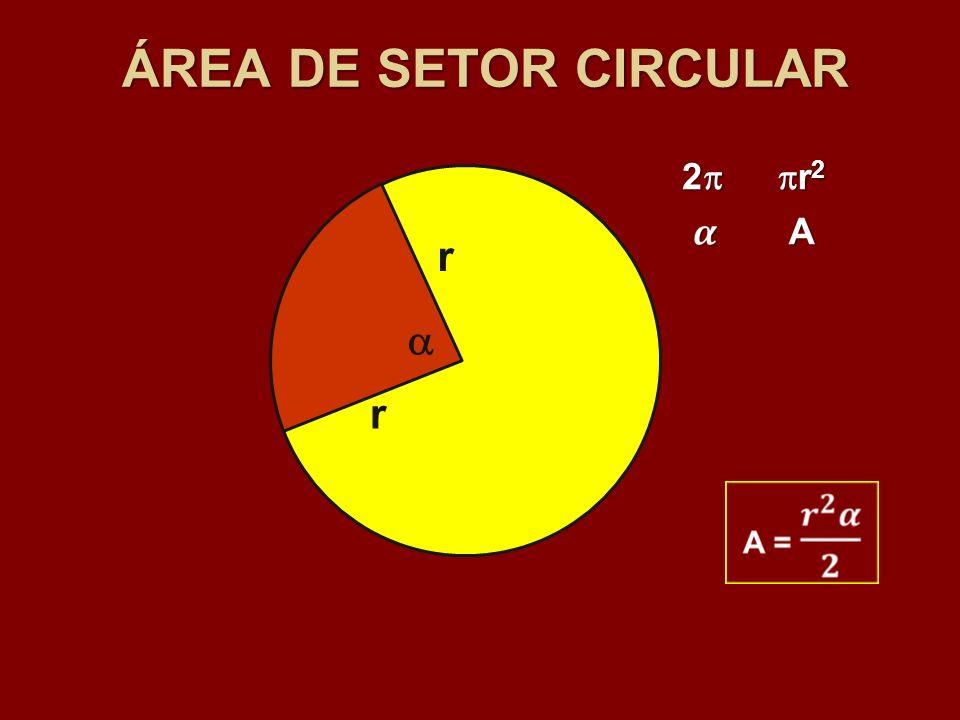 ÁREA DE SETOR CIRCULAR r r 2 r 2 r 2 A