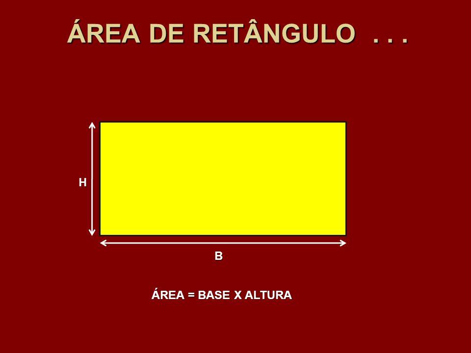 ÁREA DE RETÂNGULO... B H ÁREA = BASE X ALTURA