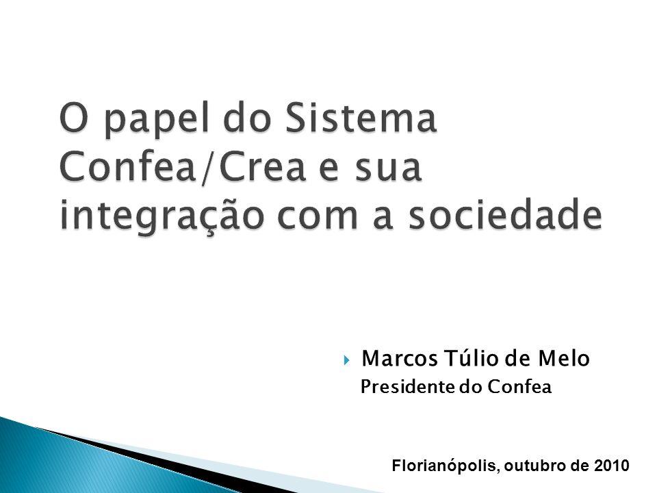 Marcos Túlio de Melo Presidente do Confea Florianópolis, outubro de 2010