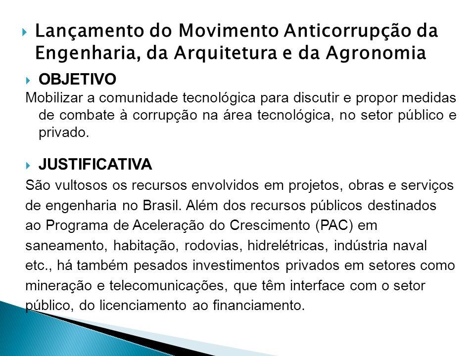 Lançamento do Movimento Anticorrupção da Engenharia, da Arquitetura e da Agronomia OBJETIVO Mobilizar a comunidade tecnológica para discutir e propor