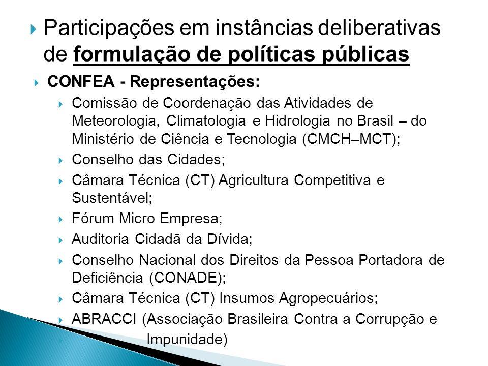 Participações em instâncias deliberativas de formulação de políticas públicas CONFEA - Representações: Comissão de Coordenação das Atividades de Meteo