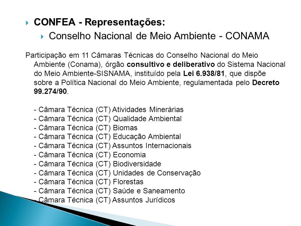 CONFEA - Representações: Conselho Nacional de Meio Ambiente - CONAMA Participação em 11 Câmaras Técnicas do Conselho Nacional do Meio Ambiente (Conama