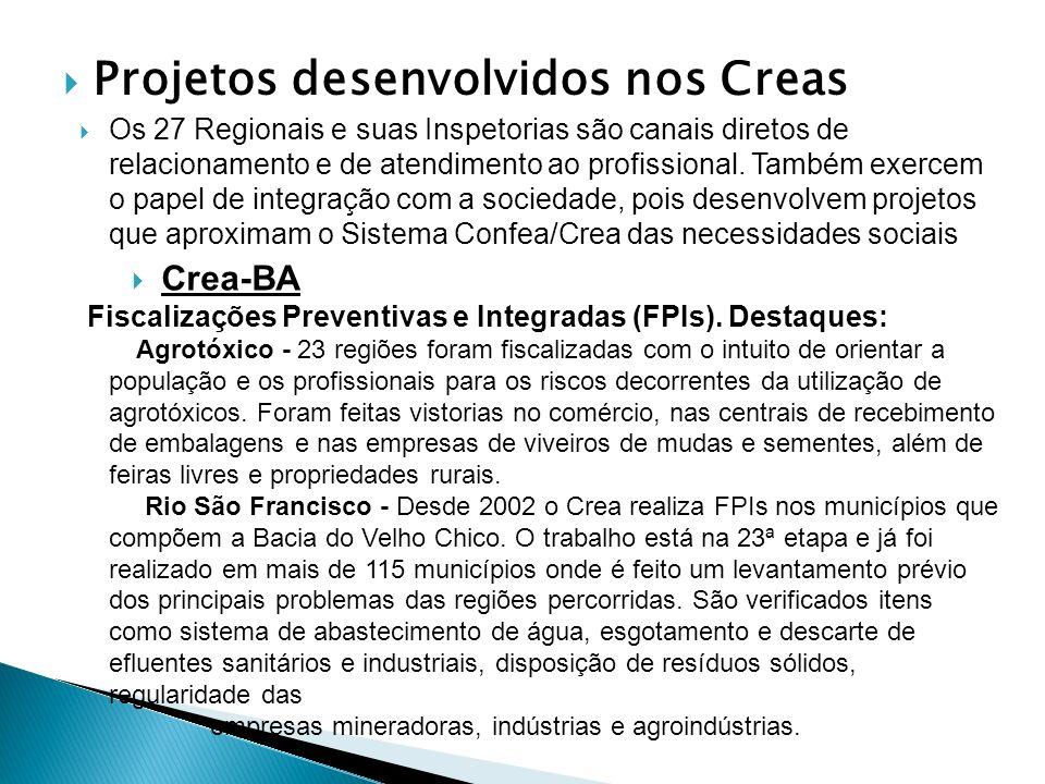 Projetos desenvolvidos nos Creas Os 27 Regionais e suas Inspetorias são canais diretos de relacionamento e de atendimento ao profissional. Também exer