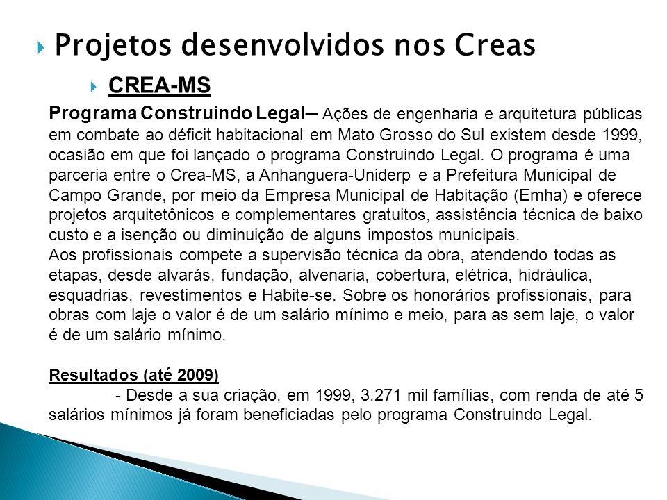 Projetos desenvolvidos nos Creas CREA-MS Programa Construindo Legal – Ações de engenharia e arquitetura públicas em combate ao déficit habitacional em