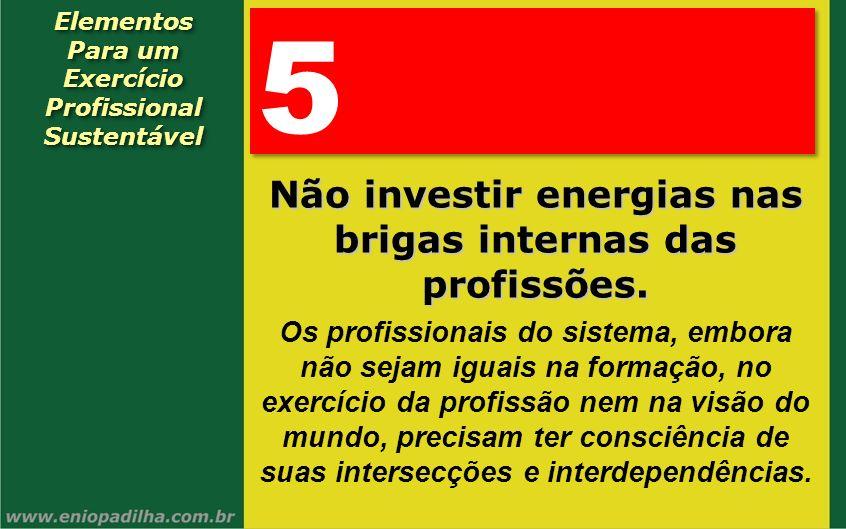 Elementos Para um Exercício Profissional SustentávelElementos Para um Exercício Profissional Sustentável 5 5 Não investir energias nas brigas internas
