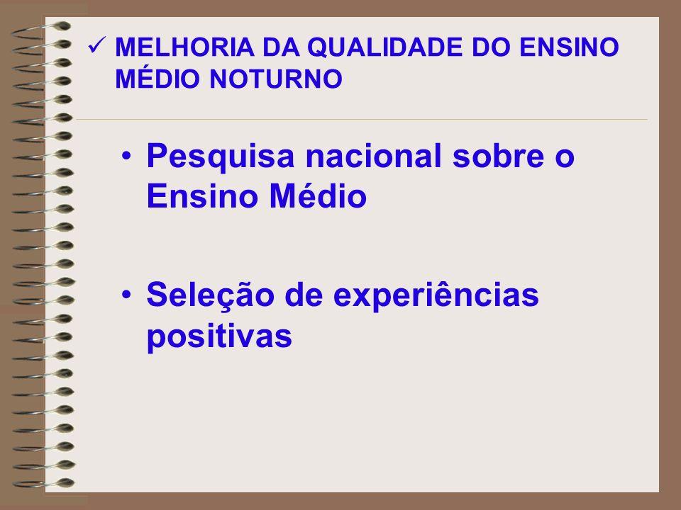 Pesquisa nacional sobre o Ensino Médio Seleção de experiências positivas MELHORIA DA QUALIDADE DO ENSINO MÉDIO NOTURNO