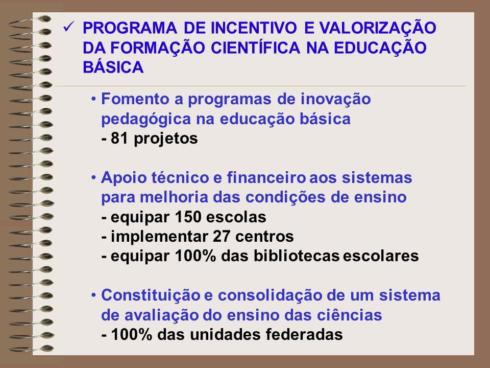 PROGRAMA DE INCENTIVO E VALORIZAÇÃO DA FORMAÇÃO CIENTÍFICA NA EDUCAÇÃO BÁSICA Fomento a programas de inovação pedagógica na educação básica - 81 proje