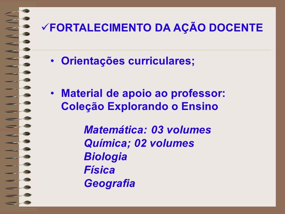 Orientações curriculares; Material de apoio ao professor: Coleção Explorando o Ensino FORTALECIMENTO DA AÇÃO DOCENTE Matemática: 03 volumes Química; 0