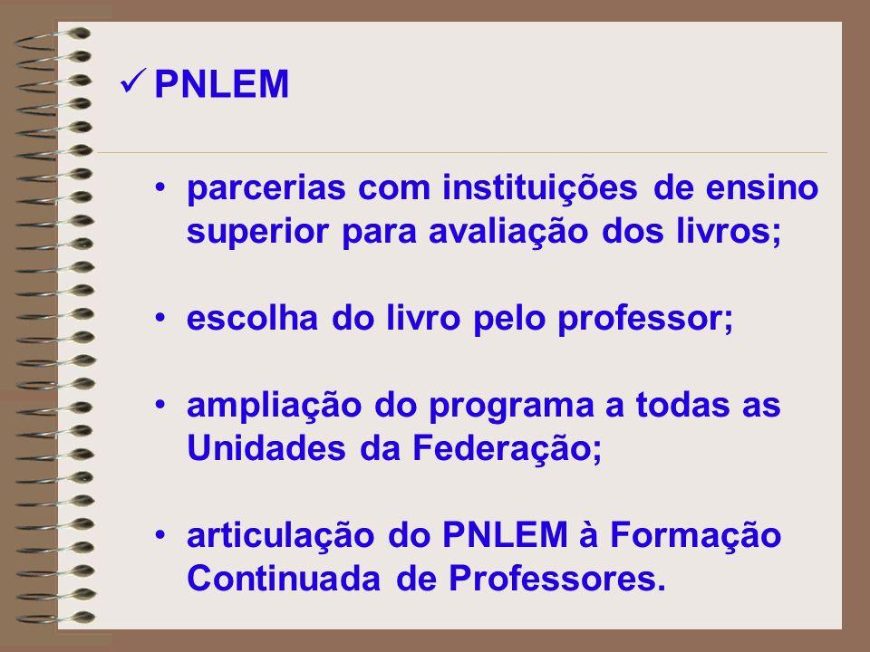 parcerias com instituições de ensino superior para avaliação dos livros; escolha do livro pelo professor; ampliação do programa a todas as Unidades da