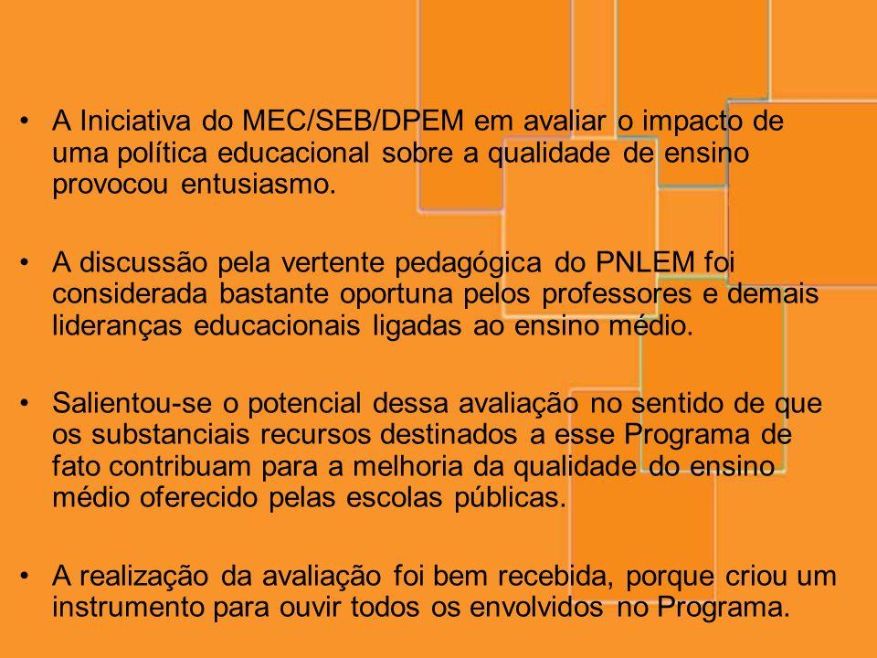 A Iniciativa do MEC/SEB/DPEM em avaliar o impacto de uma política educacional sobre a qualidade de ensino provocou entusiasmo. A discussão pela verten