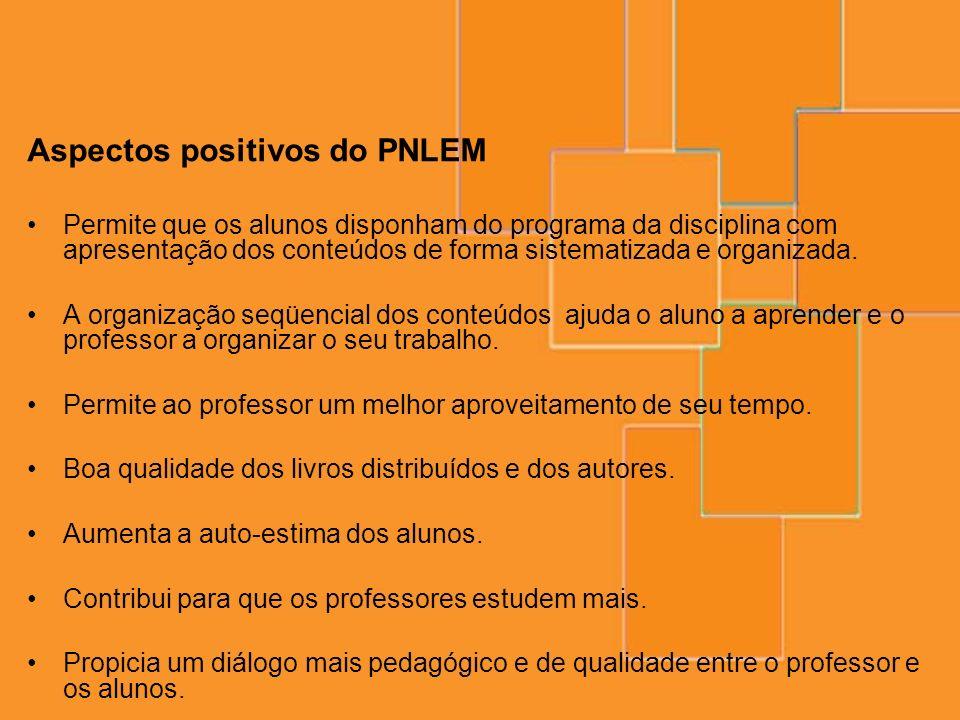 Aspectos positivos do PNLEM Permite que os alunos disponham do programa da disciplina com apresentação dos conteúdos de forma sistematizada e organiza
