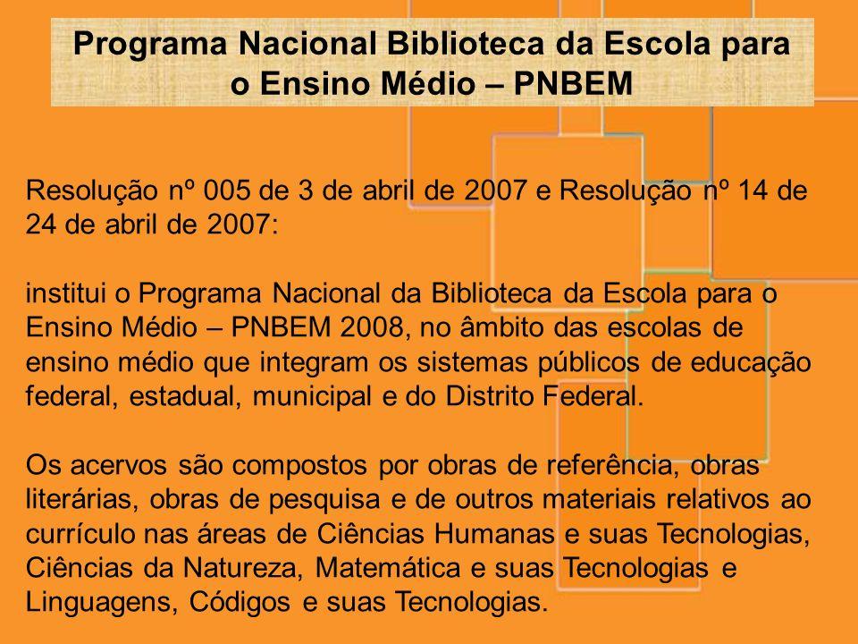 Resolução nº 005 de 3 de abril de 2007 e Resolução nº 14 de 24 de abril de 2007: institui o Programa Nacional da Biblioteca da Escola para o Ensino Mé