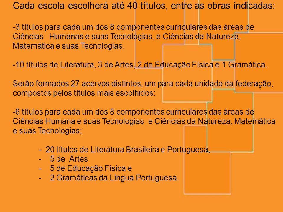 Cada escola escolherá até 40 títulos, entre as obras indicadas: -3 títulos para cada um dos 8 componentes curriculares das áreas de Ciências Humanas e