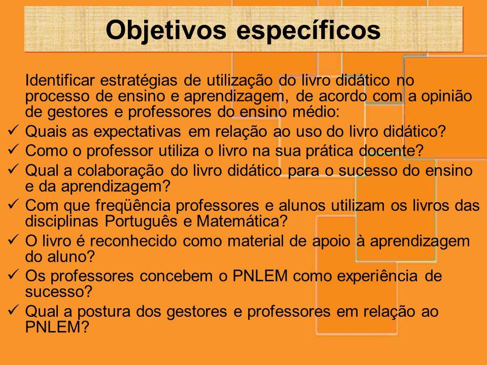 Objetivos específicos Identificar estratégias de utilização do livro didático no processo de ensino e aprendizagem, de acordo com a opinião de gestore